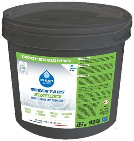 CLEAN SURF GREEN'TABS LINGE CONCENTR x126 pastil SEAU 2,52kg