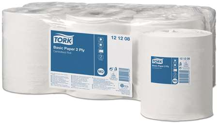 TORK BOBINE TC 'M2' BLANC 2F 18x30 ECO EU 450cpx6 SS mandrin