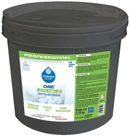 CLEAN SURF ONE LV ECOLABEL x 150 pastilles SEAU 2.25kg